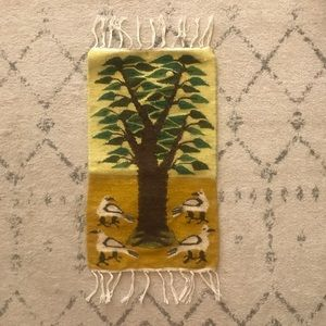 Mexican Woven Wool Tree & Bird Tapestry